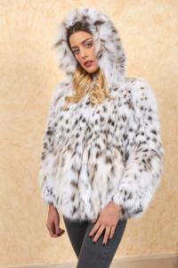 Giacca in pelliccia di lince con cappuccio