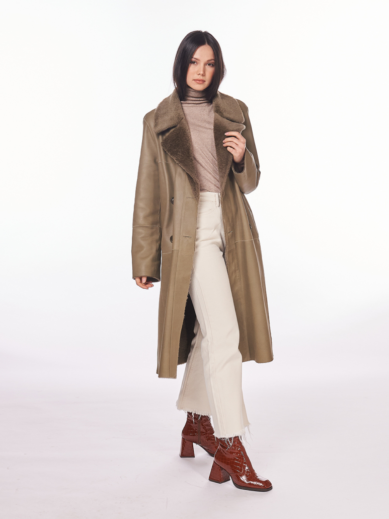 cappotto in montone shearling reversibile verde salvia