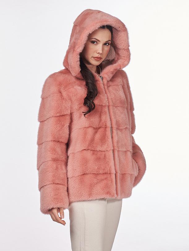 Giacca in visone rosa shocking con cappuccio e zip metallica