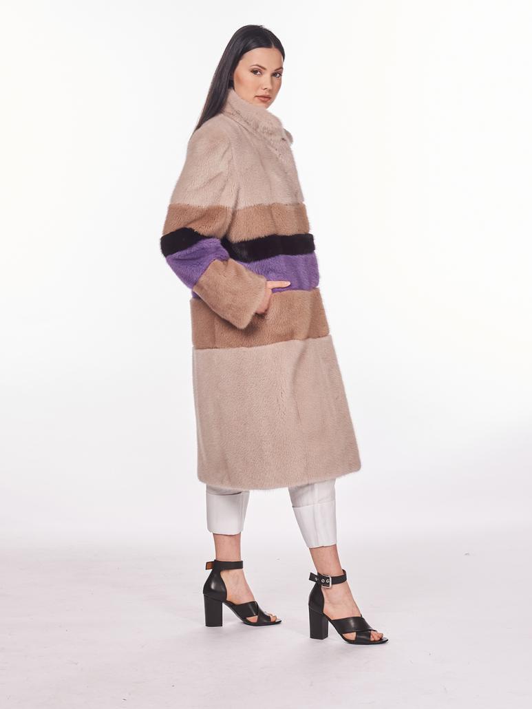 cappotto in pelliccia di visone rosa viola nero